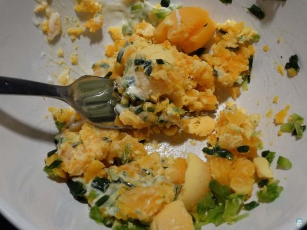 Gefüllte Eier Masse