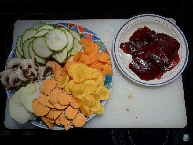 Gemüse-dünn-geschnitten